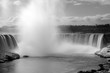 Black and white high contrast image of Niagara Falls Canada