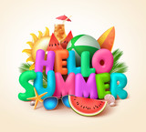Hello summer text banner design with colorful summer elements like watermelons and beach balls in yellow background. Vector illustration.