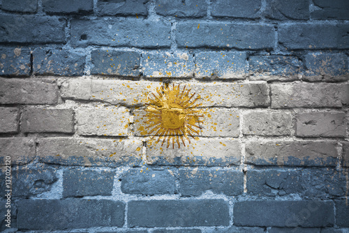 Foto op Plexiglas Buenos Aires painted national flag of argentina on a brick wall