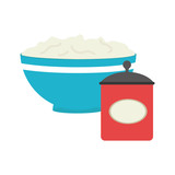 full color bowl with mixture and salt container vector illustration