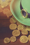 St Patricks Day hat and gold coins.
