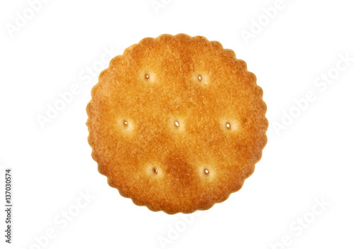 Round cracker isolated on a white background Poster