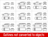 car sedan and suv and van all view drawing outlines not converted to objects
