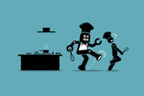 Robot chef kicks away a human chef from doing his job at kitchen. Vector artwork depicts automation, future concept, artificial intelligence, and robot replacing mankind.
