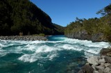 The stunning blue and white waters of the petrohue river near Saltos del Petrohue in Southern Chile