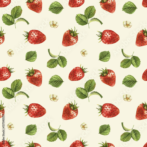 Fototapeta Hand drawn seamless pattern with watercolor strawberries. Berries and leaves on the white background. Vintage style