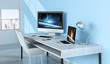 Modern blue desktop interior with devices 3D rendering