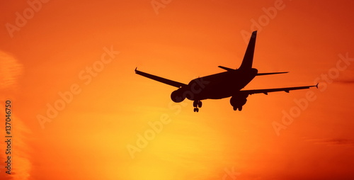 Sunset aircraft Poster