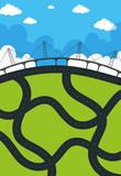 Roads and bridge on land
