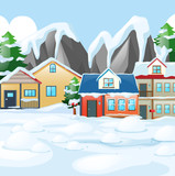 Houses in village covered with snow