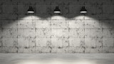 Concrete wall with three lamps hanging - 137052385