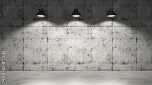 Fototapeta Concrete wall with three lamps hanging