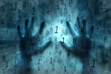 Conceptual dark turquoise blue colored computer binary numbers data illustration background with human hands.
