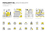 Popularity modern layouts oil industry in new flat line style with gas station electrical, petrol technology and refinery systems development. infographics strategy program. Pictogram for design.