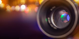 Camera lens with bokeh background.