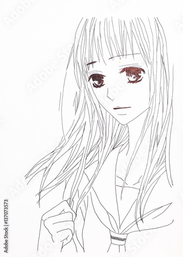 Drawing in the style of anime. Picture of a girl in the picture in the style of Japanese anime. - 137073573