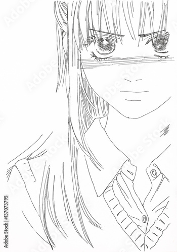 Drawing in the style of anime. Picture of a girl in the picture in the style of Japanese anime. - 137073795