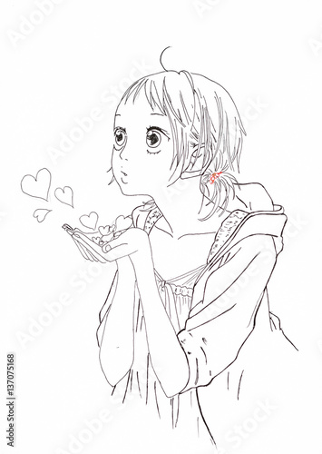 Drawing in the style of anime. Picture of a girl in the picture in the style of Japanese anime. - 137075168