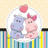 Two Cute Cartoon Hippos - 137076725