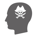 Isolated male head with a pirate skull
