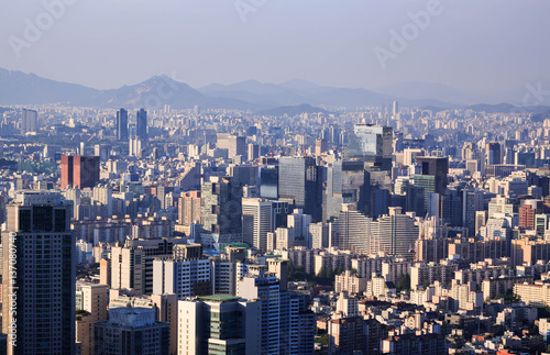 Seoul city and Downtown skyline, South Kore. Poster