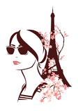 woman wearing sunglasses among flowers and eiffel tower - spring