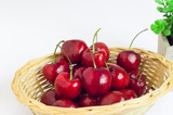 cherry in basket on white background