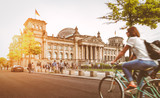 Berlin urban city life with Reichstag at sunset in summer, Germany - 137096359