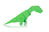 Green dinosaur Rex of origami