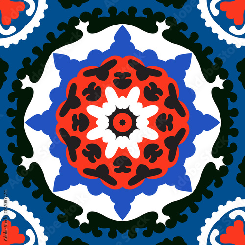 Suzani, vector pattern with bold ornament - 137097774