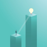 Creative solution business vector concept with businessman climbing on ladder to a light bulb. - 137101583