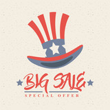 united states of america top hat icon. big sale concept. colorful design. vector illustration