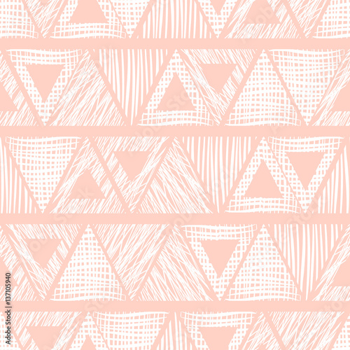 Seamless vector geometrical pattern with triangle. endless background with hand drawn textured geometric figures. Graphic illustration Template for wrapping, web backgrounds, wallpaper, wrap, print - 137105940