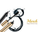 8 March vector greeting card, International Womens Day. Mascara, pencil and watercolor number eight, isolated on white background. Concept for holiday banner, poster, background with place for text.