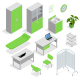 Isometric set of Hospital equipment and furniture. Flat icons isolated vector illustration equipment with scanner monitor and operation table