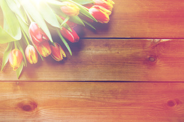 close up of tulip flowers on wooden table
