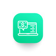 internet banking line icon on green shape