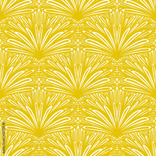 Fototapeta Art deco vector floral pattern in gold and white.