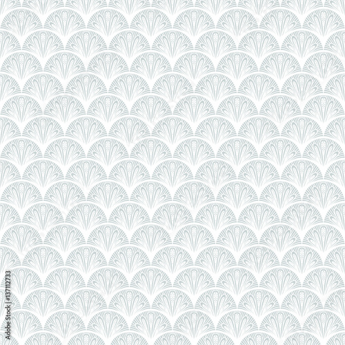 Fototapeta Art deco vector geometric pattern in silver white.