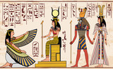 Vector illustration of Egyptian national drawing. Image of gods ornament hieroglyphs. - 137114140
