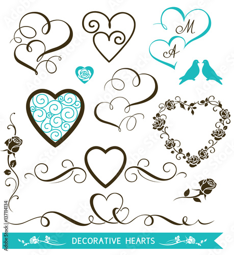 Set of decorative calligraphic hearts for wedding design. Valentine's Day hearts and floral love elements. Vector illustration - 137114134