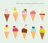 Fototapety Ice cream cone set. Paper cutout stickers. Bright and pastel colors. Vector EPS10.