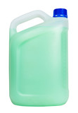 side view of plastic jerrycan with green liquid
