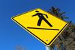 Crosswalk on a Yellow Diamond Sign