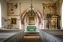 """Постер, картина, фотообои """"country-church with reredos of wood and fine frescoes,"""""""