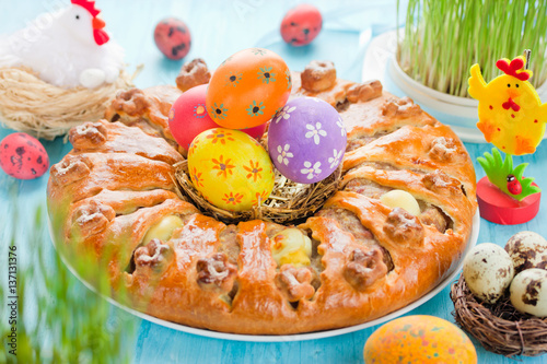 Poster Meatloaf ring stuffed eggs for Easter