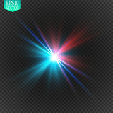 Fototapety Collision of two forces with red and blue light. Vector illustration. Explosion concept.