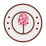 circular border tree with leafy branches in heart shape form vector illustration - 137138710