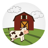 circular landscape with barn and cow vector illustration