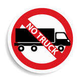 No truck sign on white background.